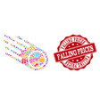 falling prices collage of mosaic and grunge seal vector image vector image