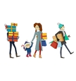 Family Going with Presents Person and Gift Boxes vector image