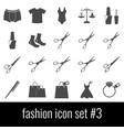 fashion icon set 3 gray icons on white vector image