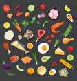 food and ingredients background flat design vector image vector image