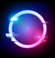 glitched circle in retro neon style vector image vector image