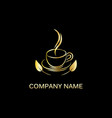 gold hot drink logo vector image vector image