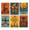 halloween cards greeting cards invitation to vector image vector image
