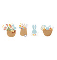 happy easter vintage style easter rattan baskets vector image