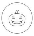 horror pumpkin black icon in circle outline vector image
