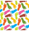 human paint footprints pattern colorful background vector image