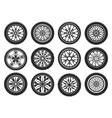 icons car tires light alloy wheel rims vector image