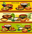 indian cuisine banner with traditional asian food vector image vector image