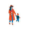 mother and her little son walking holding hands vector image vector image