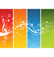 Music background with different notes on different vector image vector image