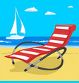 paradise beach in sea with yacht and deckchair vector image vector image
