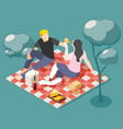 picnic on nature isometric background vector image