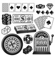 poker and casino gambling objects design elements vector image