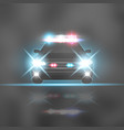 police car with headlights flares and siren at the vector image vector image