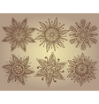 print of six ornamental suns with a lot of details vector image