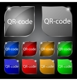 Qr-code sign icon Scan code symbol Set of colored vector image