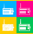 radio sign four styles of icon on vector image vector image