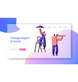 repair service professional worker landing page vector image vector image