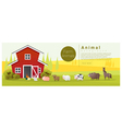 Rural landscape and farm animal background vector image