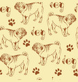 seamless pattern with pug vector image