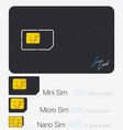 sim card phone chip realistic icon isolated vector image vector image