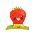 strawberry doing yoga exercise funny sportive vector image