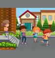 students at school yard vector image vector image