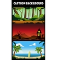 Three cartoon backgrounds vector image vector image