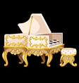 white harpsichord in vintage style with a vector image