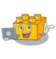with laptop plastic building blocks cartoon on toy vector image