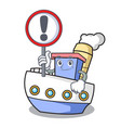 with sign ship character cartoon style vector image