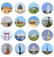 World landmarks flat icon set vector image vector image