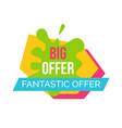 big and fantastic offer emblem vector image