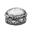 Black and white hand drawn fried sandwich vector image vector image