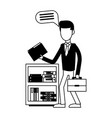 businessman at office in black and white vector image vector image