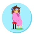 cartoon woman in blanket feeling ill with vector image vector image