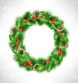 Christmas wreath on grayscale vector image