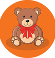 Cute brown teddy bear with red bow Flat design vector image