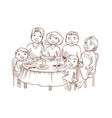 cute cartoon family dined at the table vector image vector image