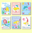 cute mermaid cards template set vector image vector image