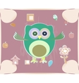 cute owl card Baby girl arrival announcement card vector image