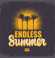 decorative banner with palms and sun endless vector image vector image