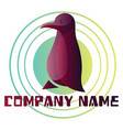 deep purple bird logo design on white background vector image vector image