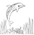 Dolphins on sea line for coloring books