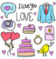 doodle of wedding collection style vector image vector image