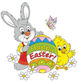 Easter Bunny and Chick vector image vector image