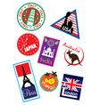 Europe sticker and stamp collection vector image vector image