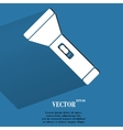 Flashlight Flat modern web button with long vector image