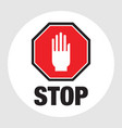 floor sign stop sign with hand eps vector image vector image