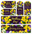 flower tag for spring holiday or mother day design vector image vector image